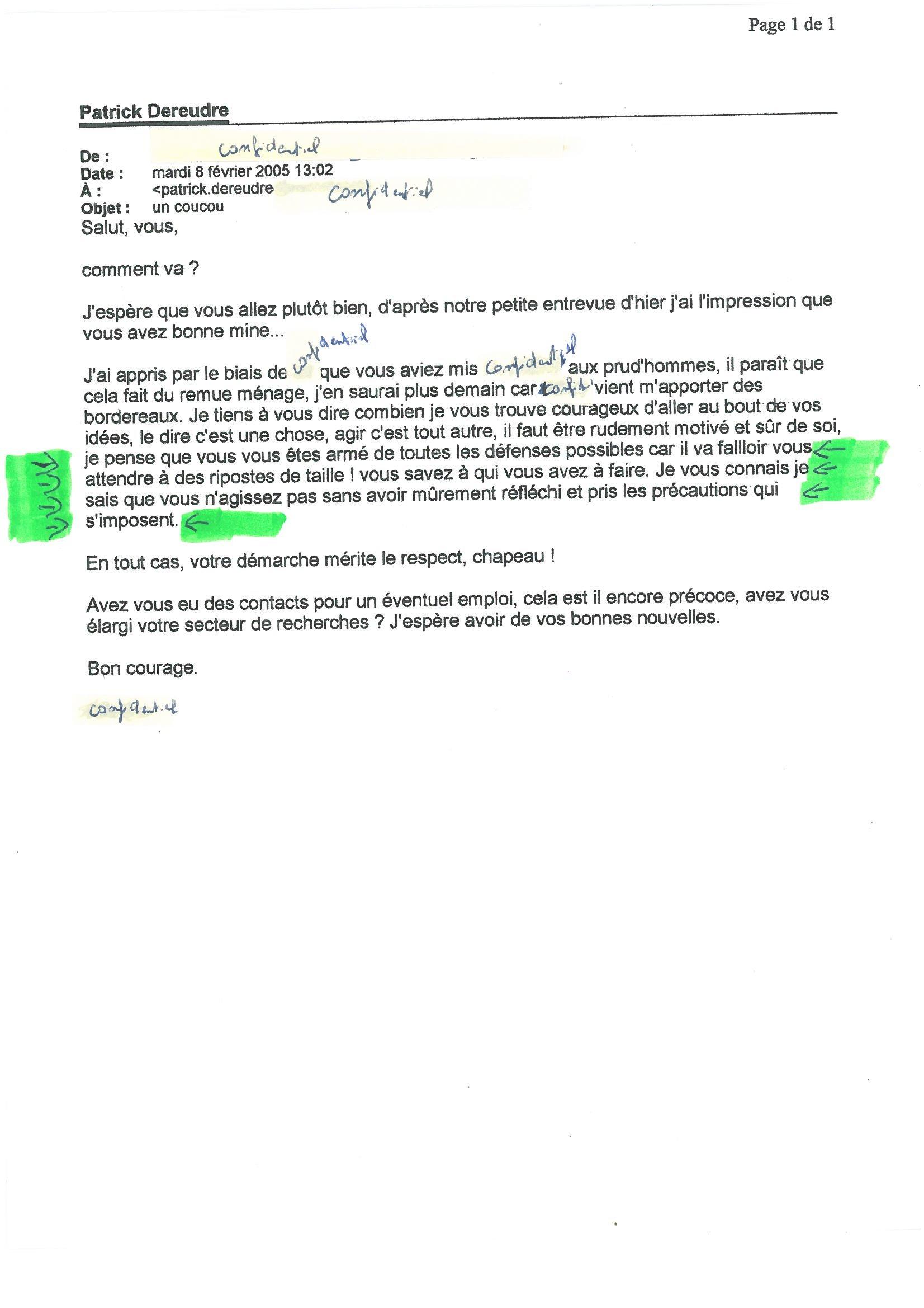 Mail du 08 février 2005 de ma Secrétaore de Direction de mon employeur