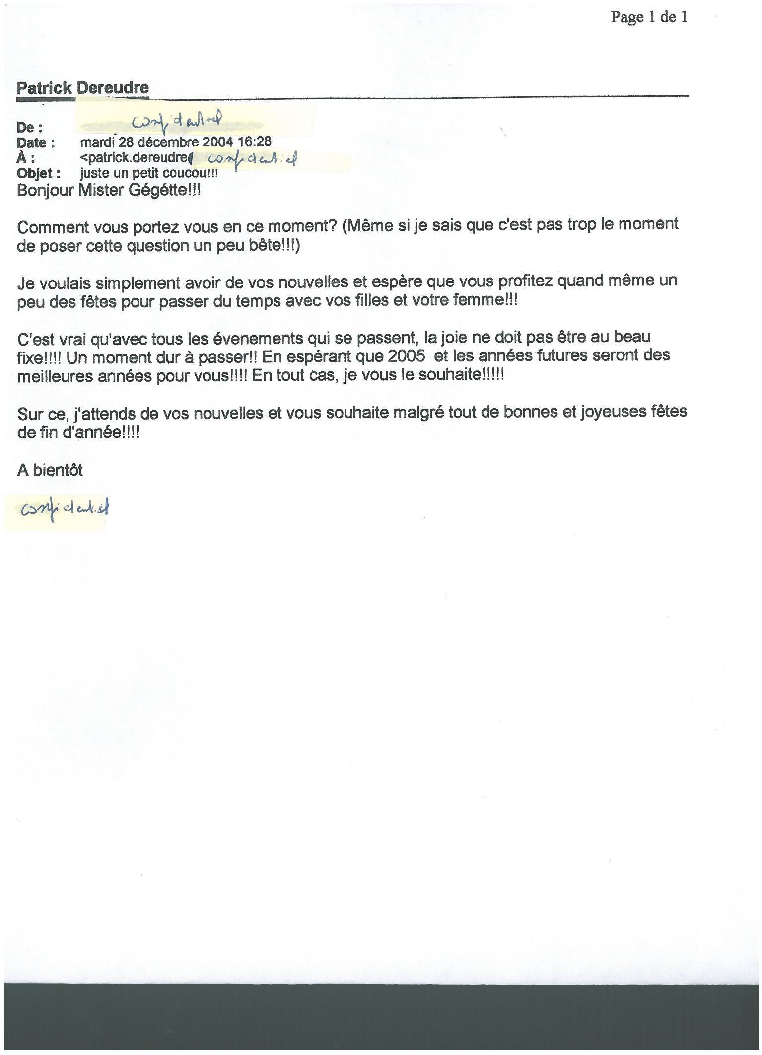 Mail du 28 décembre 2004 d'une jeune fille en contrat PRO Licence
