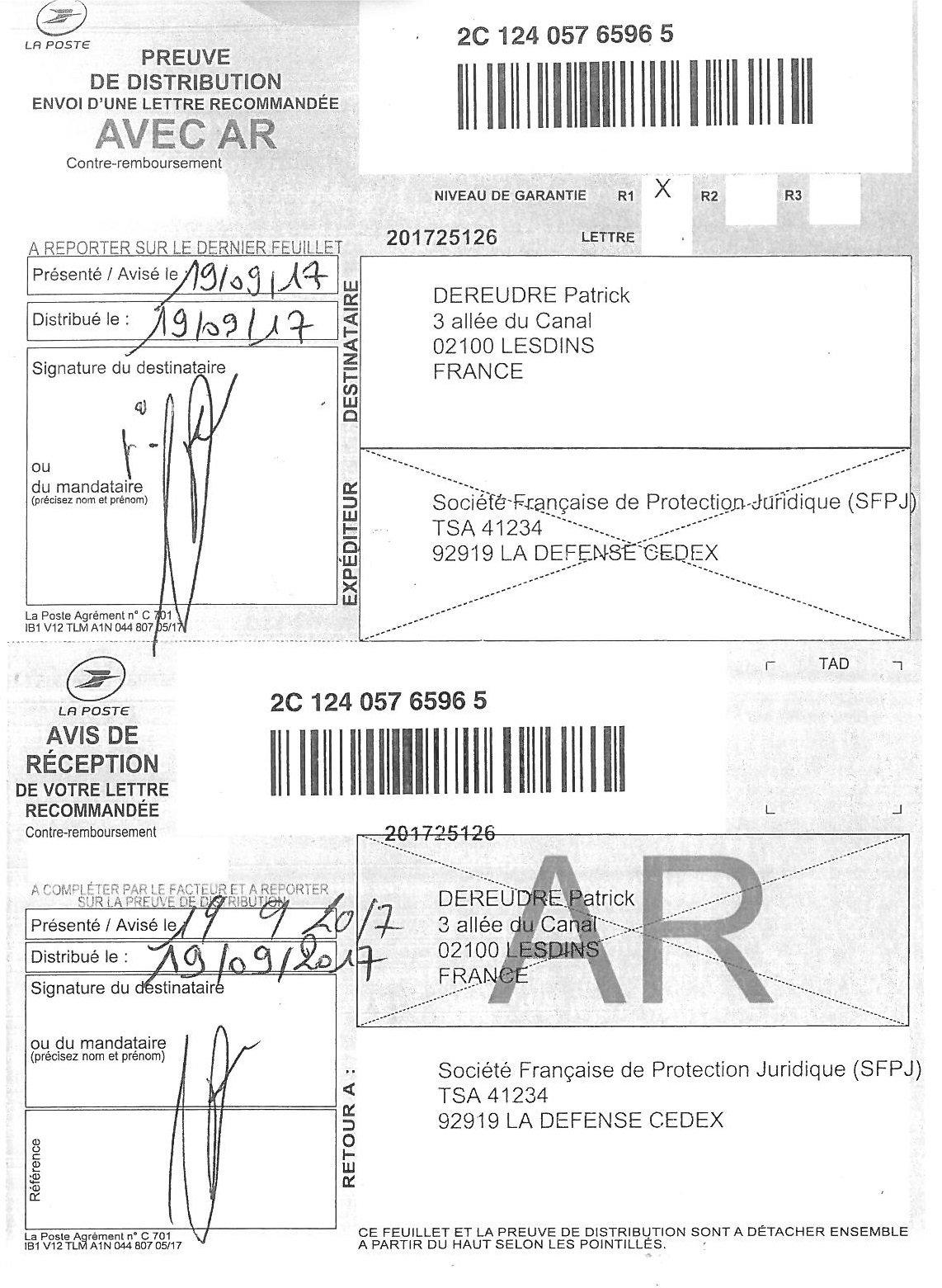 SOGESSUR LRAR Preuve de Distribution Site de Patrick DEREUDRE www.maisonnonconforme.fr
